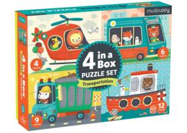 Set van 4 dieren puzzels - vervoer 2j