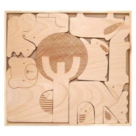 Houten bos dieren (puzzel)