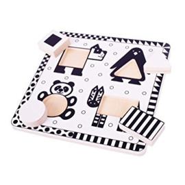 Houten puzzel zwart-wit Dieren