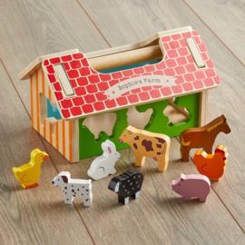Houten boerderij sorteerbox