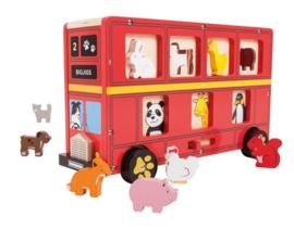 Grote houten dieren sorteer bus