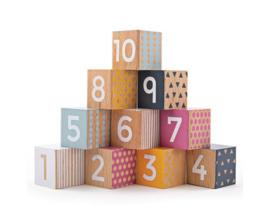 Set houten blokken met cijfers