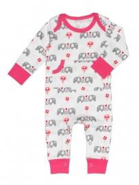 Babypyjama Olifant -  roze biologisch katoen