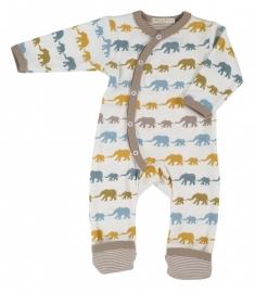 Babypyjama Olifantjes - taupe multicolor biologisch katoen
