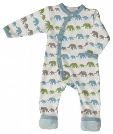 Babypyjama Olifantjes - blauw multicolor biologisch katoen