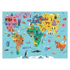 Puzzel wereldkaart met dieren - 5j
