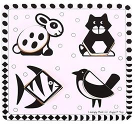 Houten puzzel zwart-wit huisdier