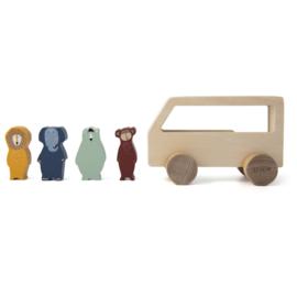 Houten dieren bus