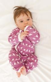 Babypyjama Vogeltjes - roze biologisch katoen