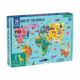 Puzzel wereldkaart met dieren