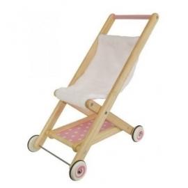 Houten poppen buggy