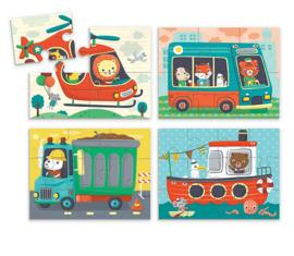 Set van 4 dieren puzzels - vervoer