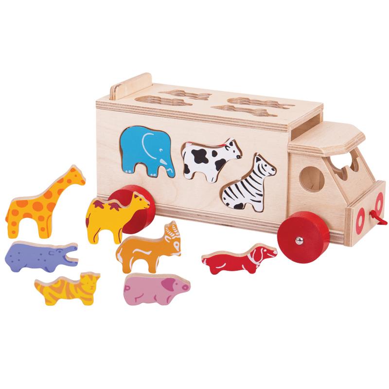 Houten dieren sorteer vrachtwagen