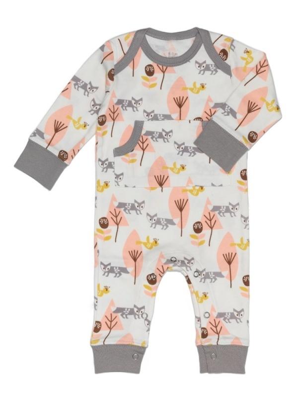 Babypyjama vos -  roze biologisch katoen