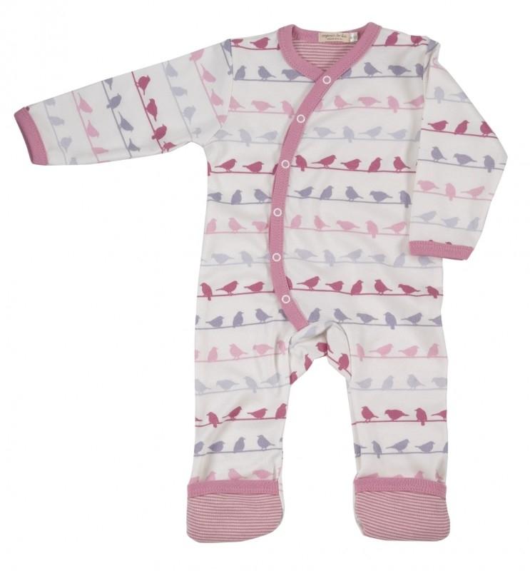 Babypyjama Vogeltjes- roze multicolor biologisch katoen