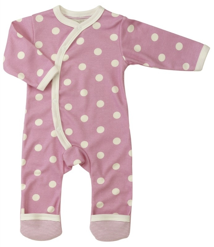 Babypyjama bolletjes - roze biologisch katoen