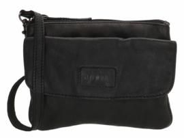 Old West Round Rock schoudertasje voorklep zwart