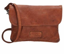Old West Round Rock schoudertasje met flap Cognac bruin