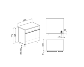 Smeg inductie fornuis CG92IANT9 90cm mat antraciet