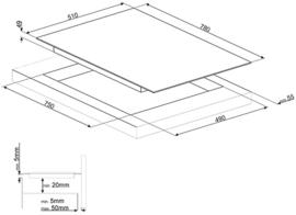 Smeg kookplaat inductie 78cm SI7844B