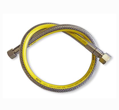 Aansluitset gasfornuis en gaskooplaat RVS slang 100cm, koppelstuk en tape.