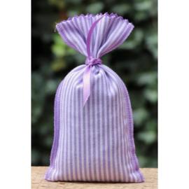Lavendelzakje met paarse streepjes achterzijde effen lila