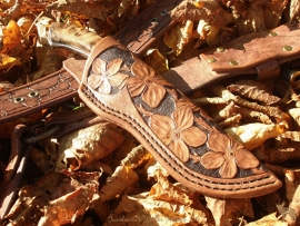 Knife sheath - messenschede 2 bloemetjes