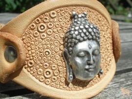 Leren armband met Boedhha organic ( met drukker )