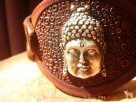 Leren armband met Boedhha organic ( met elastiek )
