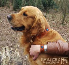 Leren hondenhalsband The Prins (met naam)