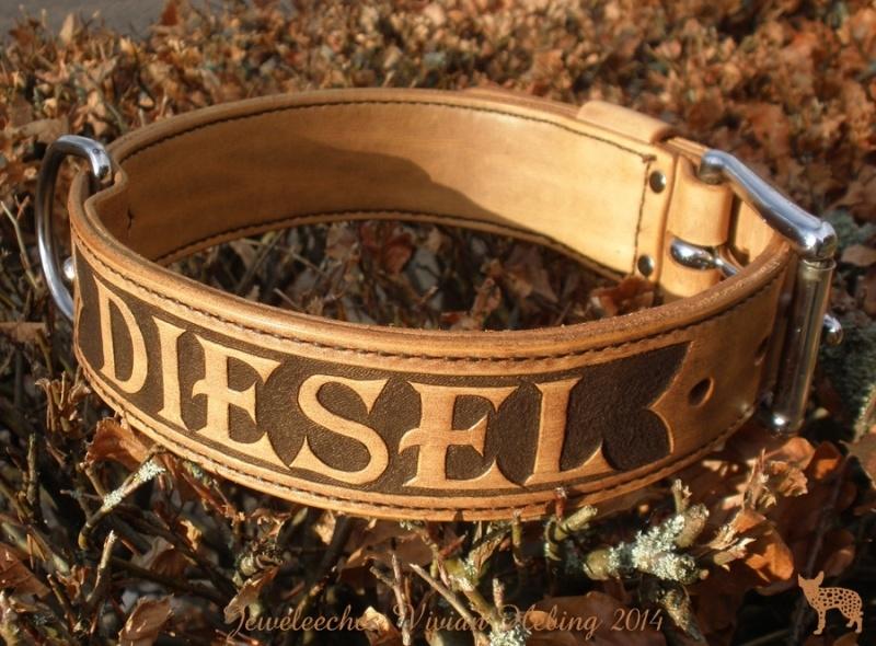 Leren hondenhalsband: The Diesel!