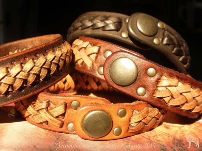 Leren armband `braided`