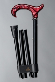 Aluminium wandelstok Perlmutt rubin mat zwart