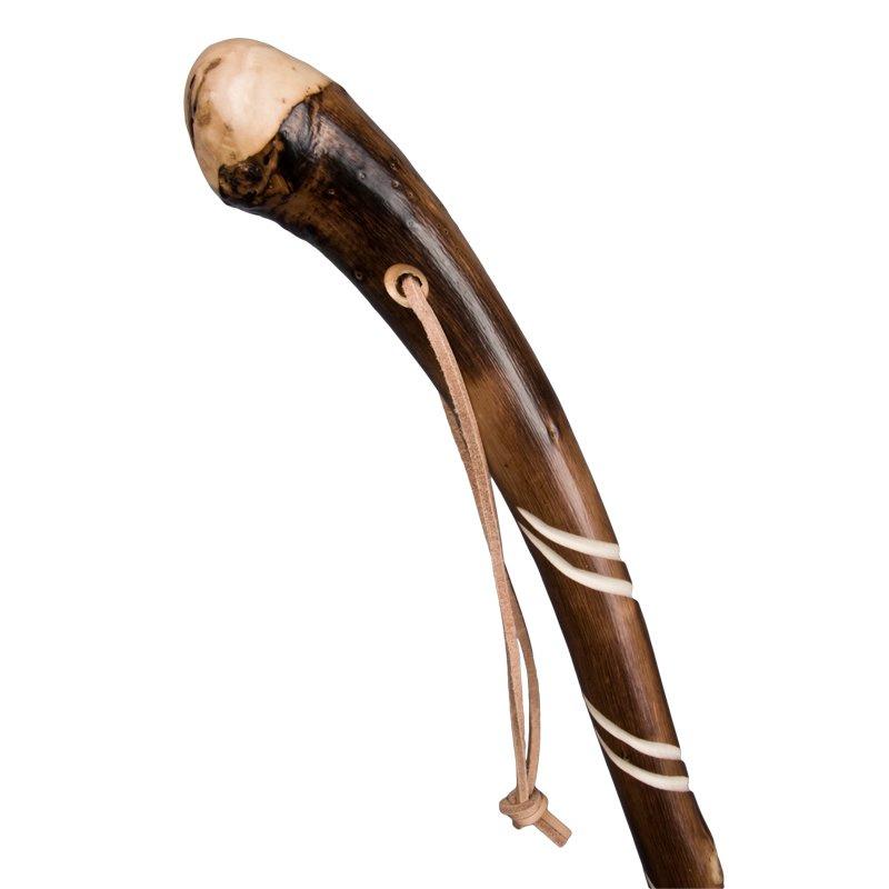 Gevlamde natuurlijke wortel met dubbele spiraal en leren lus  ca 130 cm