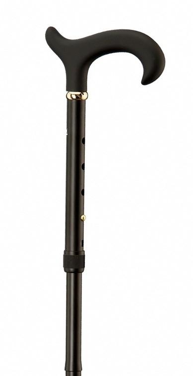 Aluminium wandelstok Slank zachte handgreep zwart dames 65128-s