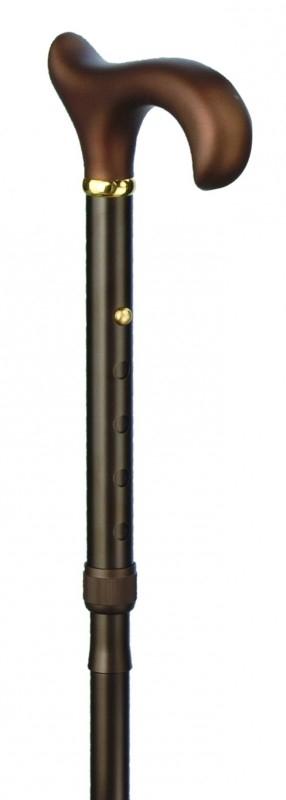 Aluminium wandelstok Ergonomisch soft handgreep brons heren