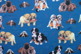 Tricot twin puppies digitale print