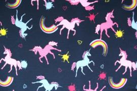 French Terry unicorn blauw