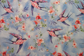 Tricot blue birds digitale print
