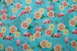 Tricot flamingo en rozen digitale print