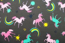 French Terry unicorn grijs