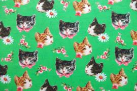 Tricot katten en bloemen digitale print