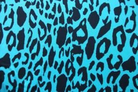 Tricot panterprint aquablauw