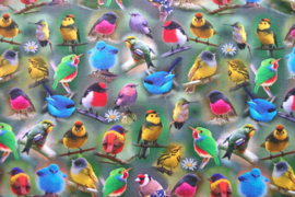 Tricot tropical birds digitale print