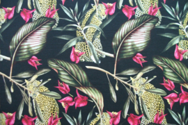 Tricot panter black digitale print
