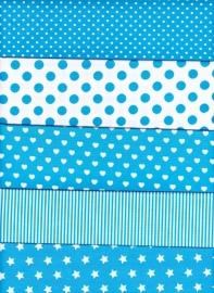 25 lapjes stof 10 x 10 cm aquablauw