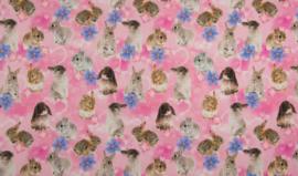 Tricot konijnen digitale print