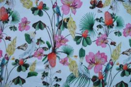 Tricot bloemen-vogels digitale print