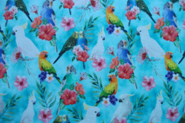 Tricot colorfull parrots digitale print