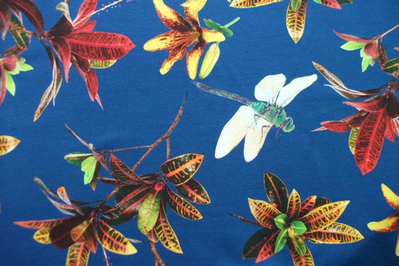 Tricot libelle blauw digitale print
